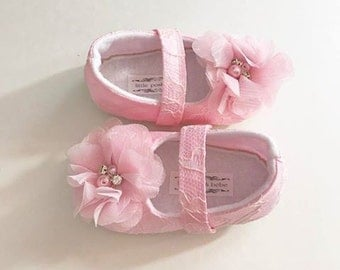 Toddler Girl Shoes Baby Soft Soled Lace Wedding Chiffon Flower