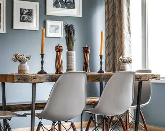 Modern Rustic Reclaimed Wood Dining Table Brooklyn steel base choice of leg  style  colorOutdoor dining table   Etsy. Modern Rustic Wood Dining Table. Home Design Ideas