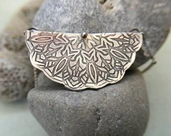 Mandala Bib Sterling Silver Necklace with Moonstones - metalsmith/handmade