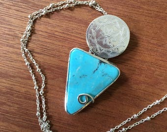Blue Geometric Turquoise Star Texture Pendant with Sterling silver and beaded clasp