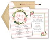 Long Distance Baby Shower Invitation- DIY Printable  / Baby Girl / It's a girl / Light Pink / Flowers /