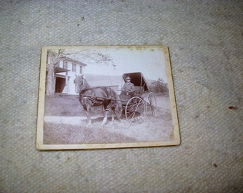 Victorian Buggy Man and Horse Antique Photograph Old Horse with Buggy Genre Photograph