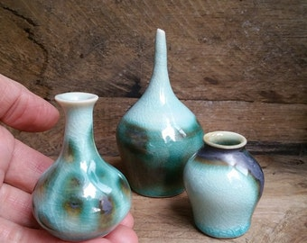 Set of 3 miniature handmade porcelain vases.  Wheel thrown vase miniatures.  Collectible small pottery.