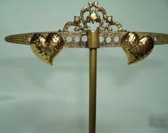 AVON Hammered Golden Heart Earrings.