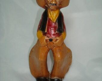 1960s NAGS HEAD  Wood Like Cowboy with Chaps Figurine.