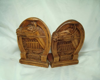 1960s Wooden Like Resin Horse Head Horseshoe Bookends.
