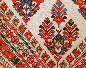 "Beautiful Antique Anatolian Embroidered Botcha Cloth 100 years / 22x22"" / 56x57cm"