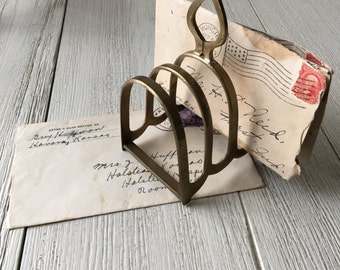 Brass Toast Rack Letter Card Holder Desk Office Studio Organization