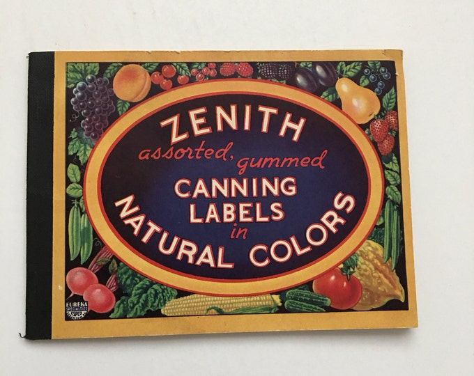 Vintage Canning Labels Colorful Fruits & Vegetables