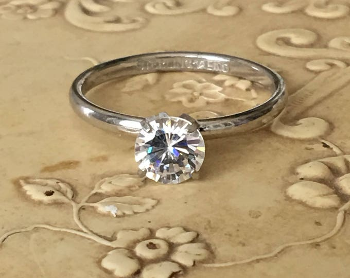 Sterling Silver CZ Solitaire Ring Faux Diamond