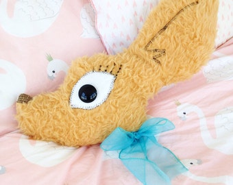 Hand sewn Deer head pillow with bow