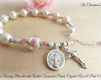 Catholic Rosary Bracelet with Beautiful Swarovski White Pearls, Pink Rose Crystal and Swarovski Pink Crystals