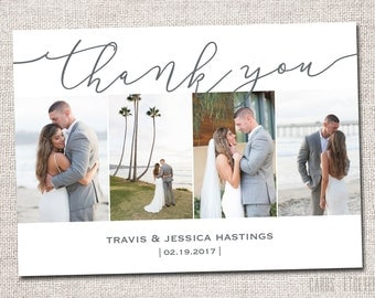 Wedding Thank You Card, Photo Thank You Card, Thank You Card, Printable Thank You Card, Modern Thank You card (Thank You 4  photo Cursive)