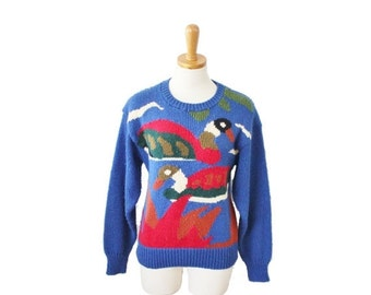 sale // Vintage 80s Duck Royal Blue Sweater - Women M by Crystal