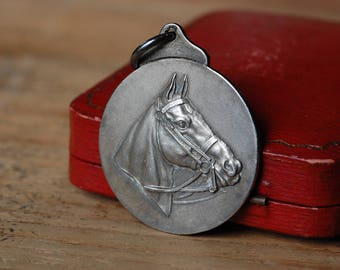 Vintage 1930s Art Deco English National Horse Association medallion pendant ∙ Mappin & Webb, London