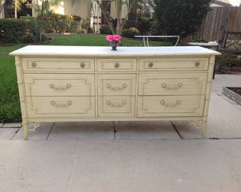FAUX BAMBOO DRESSER Fretwork Credenza / Thomasville Allegro Dresser / Chinesse Chippendale Chinoiserie Coastal Style Retro Daisy Girl