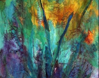 A Flower Deep in the Forest  original acrylic abstract painting