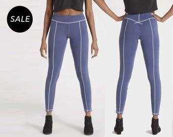 Longjohn Leggings | High Waist Blue Rib Tights | All Rib 90s Contrast Stitching Pants | SALE S, M