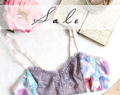 Pastel Amethyst Lace and Feather Print Comfortable Bralette OOAK Size Medium