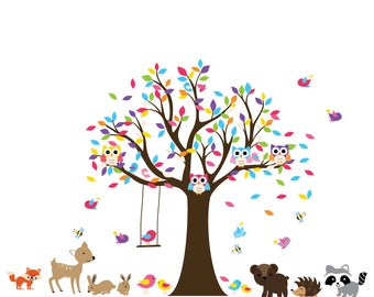 Vinyl Wall Decal Colorful Leaf Tree with birds - Swing - Nursery Wall Decal - wall decal