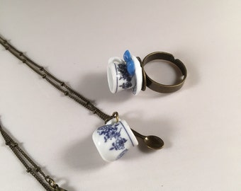 Tiny Teacup Brass Ring and Necklace set