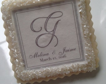 custom wedding cookie favors gray script graphic
