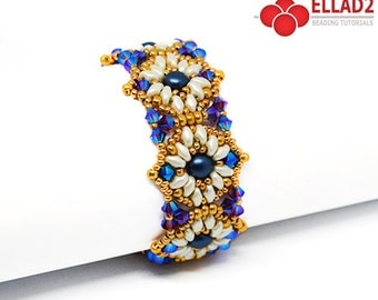 Tutorial Milly Bracelet - Beading Tutorial, Beading pattern, Instant download, design by Ellad2