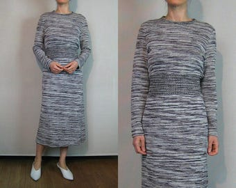 70s Grays + White Variegated Knit Dress