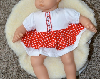 15 Inch Baby Doll Red and White Polka Dot Dress With Ladybug Trim and Double Skirt and White Panties by SEWSWEETDAISY