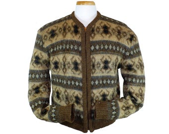 M/L, Men's Zippered Cardigan Sweater, Vintage 1960's Mohair Wool Sweater, Medium