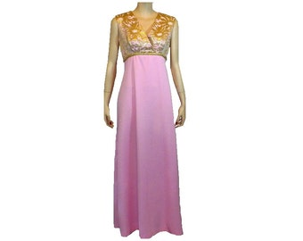 M In The Pink, Vintage 1970's Maxi Dress, Gold Prom Gown, Medium