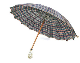 Vintage Umbrella / Ladies Parasol in Blue Red Green and White Plaid / Bumbershoot  for Prop Display or Home Decor