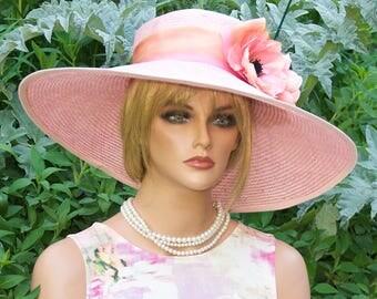 Kentucky Derby Hat, Wedding Hat, Wide Brim Hat, Women's Pink Straw Hat, Formal hat, Dressy Hat, Race Hat, Ascotat, Garden Party Hat, Tea Hat