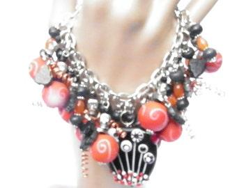 Day of the Dead Bracelet, Halloween Bracelet, Skull Bracelet, Skull Jewelry, Halloween Jewelry, Handmade Artisan Lampwork Glass Beads OOAK
