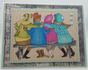 Girlfriends - Blank NoteCard, Greetings Card, Handmade, Friendship