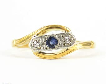 Vintage Sapphire & Diamond Ring, Three Stone Gem Set Bypass Design Ring. Art Deco, 22 Carat Gold and Platinum.