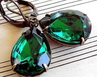 On Sale Emerald Drops,Old Hollywood,Estate Style Emerald Drops Pear Shaped  GlassJewel Earrings
