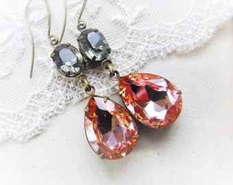 Peaches & Smoke,Vintage Peach and Gray Rhinestones ,Estate Style,Pear Shaped, Jewel Earrings By Hollywood Hillbilly