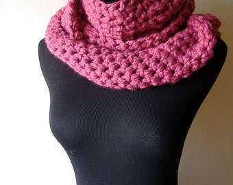 Cowl Neckwarmer Infinity Scarf Wrap in Raspberry Pink