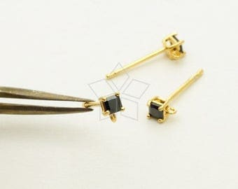 SI-797-GD / 2 Pcs - Very Tiny 2.5mm Square CZ Stud Earrings, Black Cz Post Studs, Gold Plated, with .925 Sterling Silver Post / 2.5mm