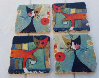 Arty Cats Stone Coaster Set of 4 Tea Coffee Beer Coasters