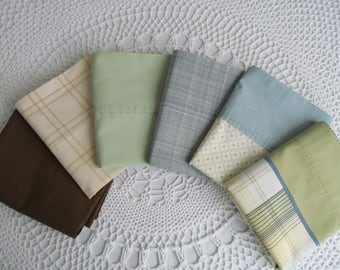 6 Vintage Pillowcases Assorment Assorted Floral All Different Earthy Colors Designs Pillowcase Lot Green Blue Brown Mismatch Him or Her