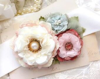Wedding Dress Sash with Pink, Mint and Ivory Fabric Flowers, Pearl Bridal Sash, Floral Bridal Belt, Colorful Wedding Sash, Unique Bride