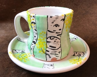 Ceramic Tea Cup and Saucer, Unique Earthenware Mug, Hand Painted with Aspen Tree Forest, Pottery Coffee Cup and Plate, 10 oz., Wheel Thrown.