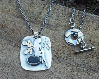 Sterling Silver Necklace with fairy and beachstone