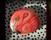 The flamingo-  Handpainted rock painting painted stone miniature painted rock pebble fine art