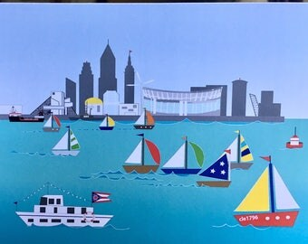 Cleveland Lake Erie card, sailboats and CLE cityscape card, football stadium, Rock Hall, Flats.