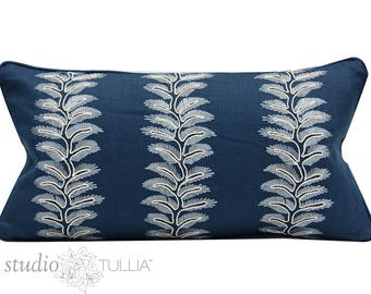 Embroidered Indigo Pillow Cover - 11x21 - Leaf Motif - Blue Linen - Designer pillow - ready to ship