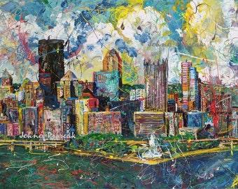 Pittsburgh Skyline ART, Pittsburgh artist, Pittsburgh wall art, City Skyline, Three Rivers, The Point,  by Johno Prascak