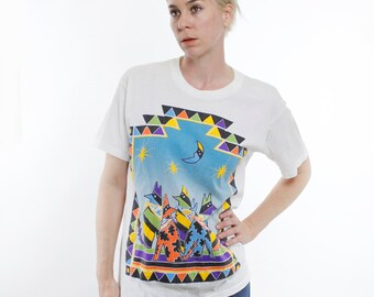 Vintage 80's / 90's southwest design shirt, moon, howling coyotes in bandanas, yellow parts are puffy, colorful, 1989  - Medium